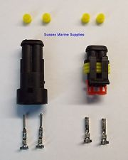 2 Pin Plug Set for Boats, Caravans, Bikes, Cars, Weather Proof