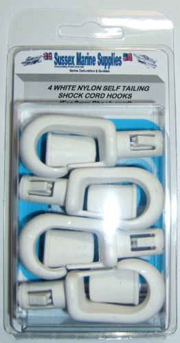 4 x White Self Tailing 8mm Bungee / Shock cord Hooks