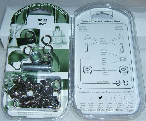 "BP22 CHROME EYELET KIT 8mm or 5/16"" With Hole Punch & Die Tools"