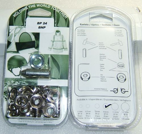 "BP24 CHROME EYELET KIT 10mm or 3/8"" With Hole Punch & Die Tools"