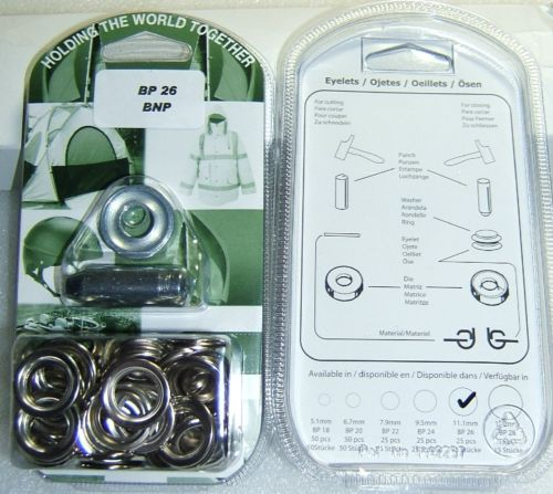 "BP26 CHROME EYELET KIT 11mm or 7/16"" With Hole Punch & Die Tools"