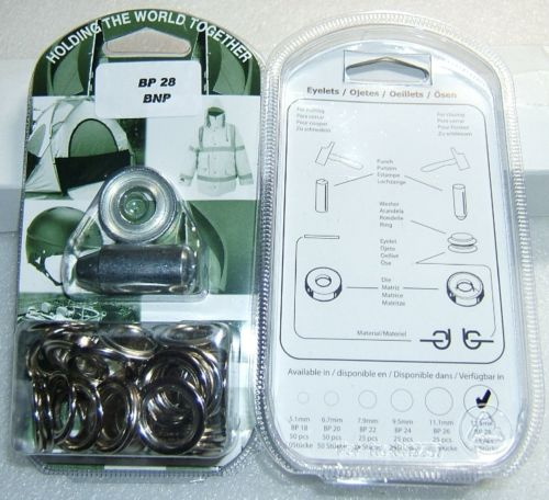 "BP28 CHROME EYELET KIT 13mm or 1/2"" With Hole Punch & Die Tools"