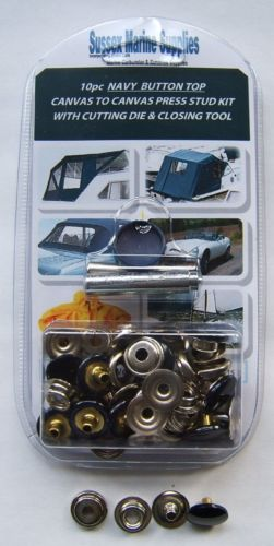 Snap Fastener Repair Kit, NAVY CAP Canvas To Canvas Press Studs