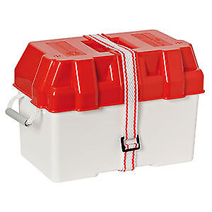 Battery Box 90-100Amp (Red and White) rope handles and strap