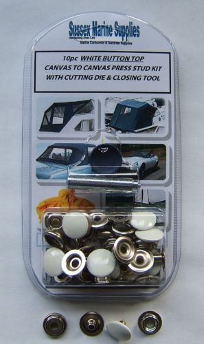 Snap Fastener Repair Kit, WHITE CAP Canvas To Canvas Press Studs