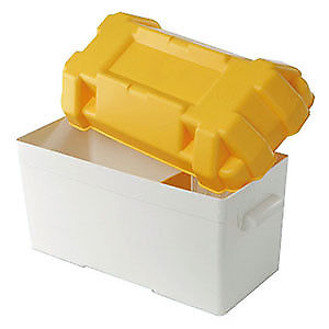 Large Battery Box 120Amp (Yellow) adjustable divider and straps